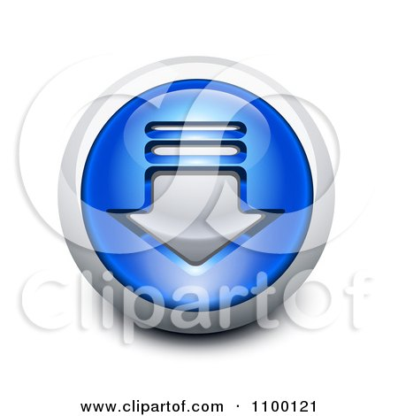 Clipart 3d Blue And Chrome Download Icon Button - Royalty Free Vector Illustration by Oligo