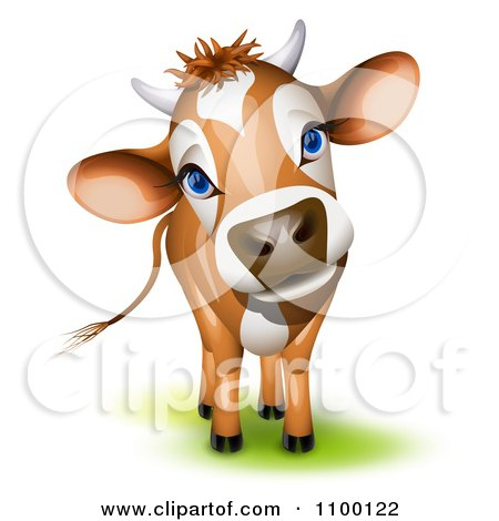 Clipart Cute Curious Jersey Cow Cocking Its Head - Royalty Free Vector Illustration by Oligo