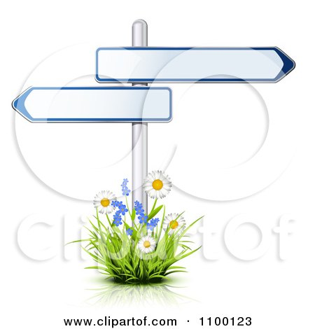 Clipart 3d Arrow Street Signs Posted In A Patch Of Flowers - Royalty Free Vector Illustration by Oligo