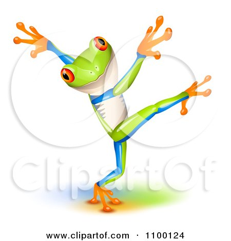 Clipart Cute Tree Frog Dancing - Royalty Free Vector Illustration by Oligo