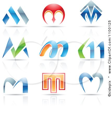 Clipart Colorful Letter M Icons With Reflections - Royalty Free Vector Illustration by cidepix