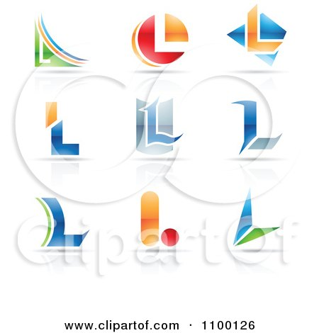 Clipart Colorful Letter L Icons With Reflections - Royalty Free Vector Illustration by cidepix