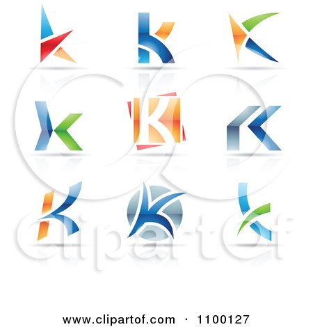 Clipart Colorful Letter K Icons With Reflections - Royalty Free Vector Illustration by cidepix