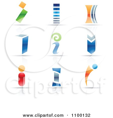 Clipart Colorful Letter I Icons With Reflections - Royalty Free Vector Illustration by cidepix