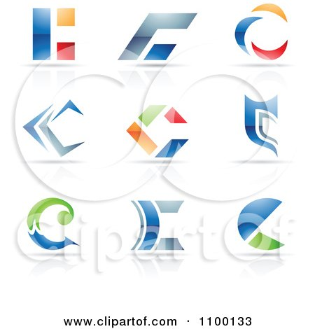 Clipart Colorful Letter C Icons With Reflections - Royalty Free Vector Illustration by cidepix