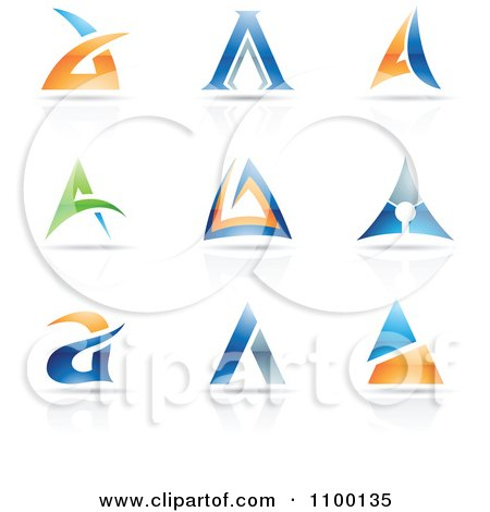 Clipart Colorful Letter A Icons With Reflections - Royalty Free Vector Illustration by cidepix