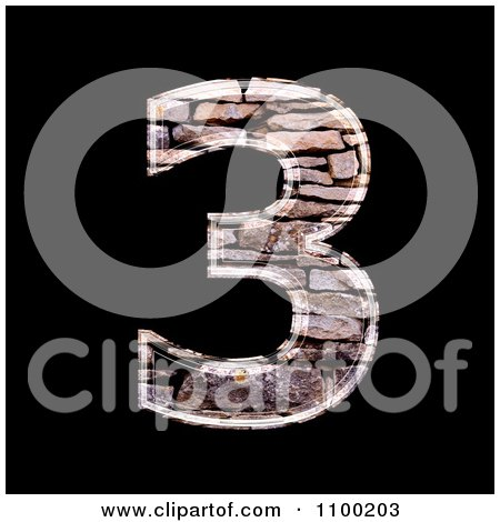 Clipart 3d Number 3 Made Of Stone Wall Texture - Royalty Free CGI Illustration by chrisroll