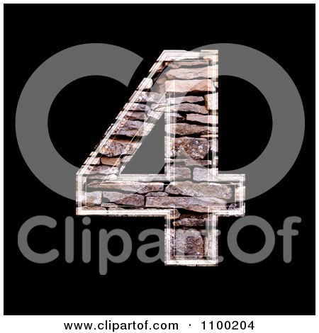 Clipart 3d Number 4 Made Of Stone Wall Texture - Royalty Free CGI Illustration by chrisroll