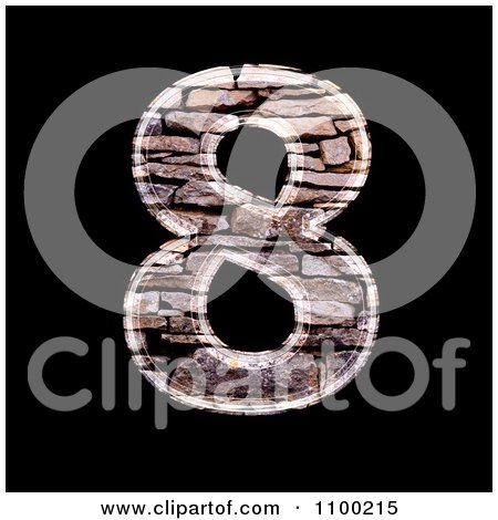 Clipart 3d Number 8 Made Of Stone Wall Texture - Royalty Free CGI Illustration by chrisroll