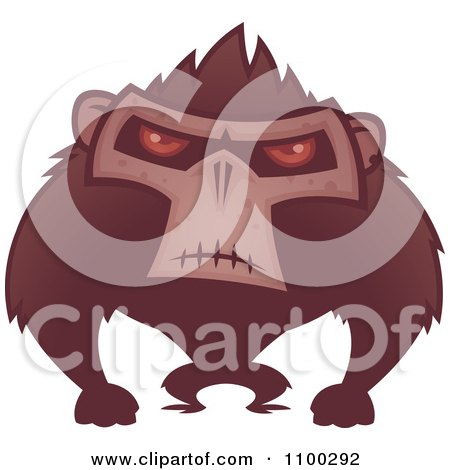 Clipart Angry Ape With Red Eyes - Royalty Free Vector Illustration by John Schwegel