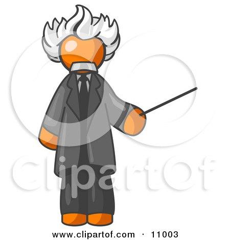 Orange Man Depicted as Albert Einstein Holding a Pointer Stick Clipart Illustration by Leo Blanchette