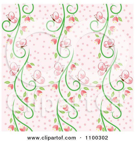 Clipart Seamless Pink And Green Butterfly And Vine Floral Background Pattern 1 - Royalty Free Vector Illustration by Cherie Reve