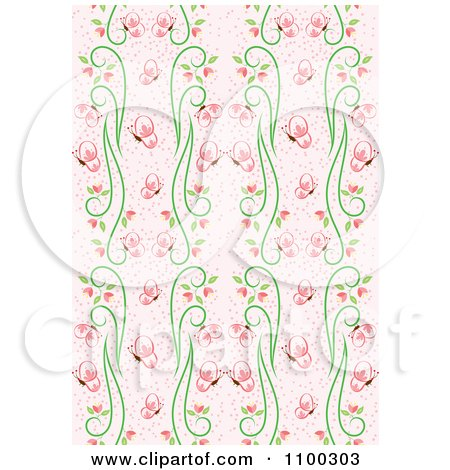Clipart Seamless Pink And Green Butterfly And Vine Floral Background Pattern 2 - Royalty Free Vector Illustration by Cherie Reve