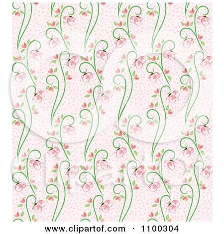 Clipart Seamless Pink And Green Butterfly And Vine Floral Background Pattern 3 - Royalty Free Vector Illustration by Cherie Reve