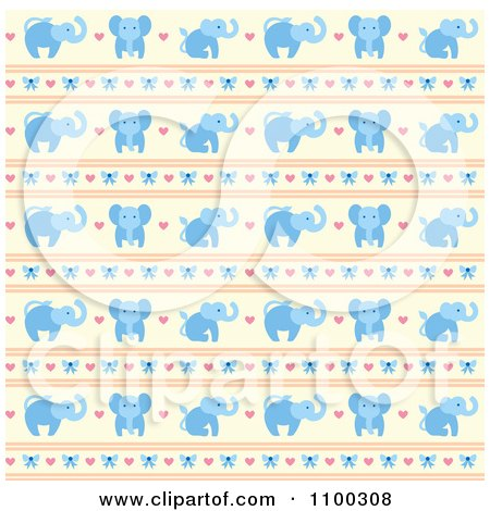 Clipart Blue Elephant Bow Heart And Beige Pattern - Royalty Free Vector Illustration by Cherie Reve
