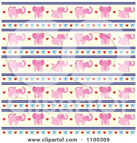 Clipart Pink Elephant Bow Heart And Beige Pattern - Royalty Free Vector Illustration by Cherie Reve