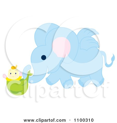 Clipart Winged Blue Elephant Delivering A Baby - Royalty Free Vector Illustration by Cherie Reve