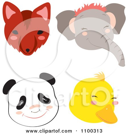 Clipart Fox Elephant Panda And Duck Faces - Royalty Free Vector Illustration by Cherie Reve