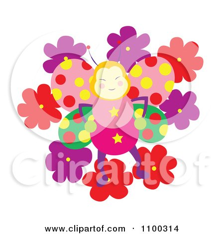 Clipart Happy Butterfly With Polka Dot Wings On Flowers - Royalty Free Vector Illustration by Cherie Reve