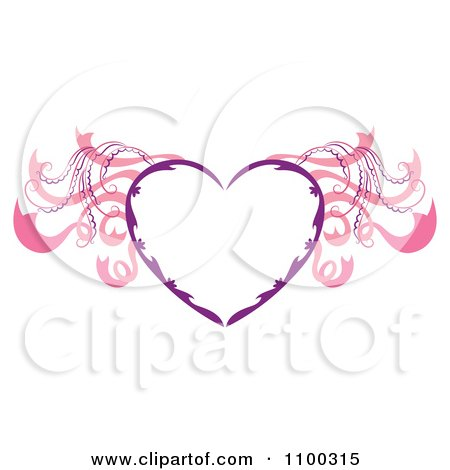 Clipart Purple Heart Frame With Pink Wings - Royalty Free Vector Illustration by Cherie Reve
