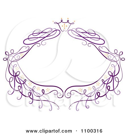 Clipart Purple Floral Frame With Sparkles - Royalty Free Vector Illustration by Cherie Reve