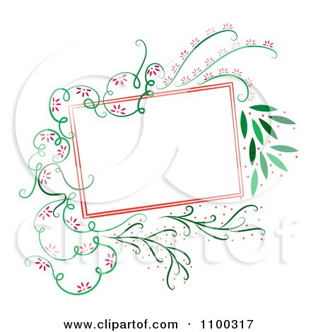 Clipart Red Square Frame With Green Vines And Red Flowers - Royalty Free Vector Illustration by Cherie Reve