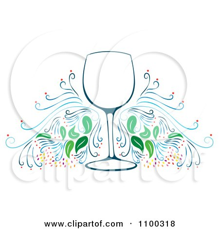 Clipart Wine Glass Frame With Flourishes - Royalty Free Vector Illustration by Cherie Reve