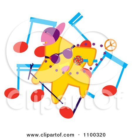Clipart Rapper Star With Music Notes - Royalty Free Vector Illustration by Cherie Reve