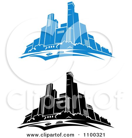 Clipart Blue And Black And White City Skylines - Royalty Free Vector Illustration by Vector Tradition SM