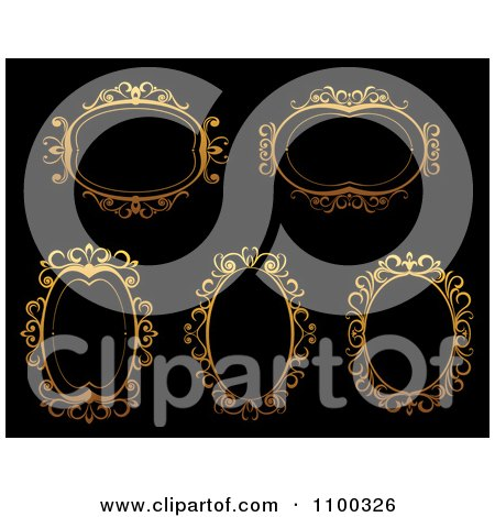 Clipart Ornate Golden Oval Frames On Black - Royalty Free Vector Illustration by Vector Tradition SM