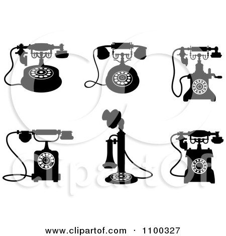Clipart Retro Black And White Vintage Desk Telephones - Royalty Free Vector Illustration by Vector Tradition SM