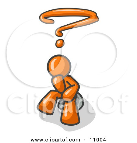 Confused Orange Business Man With a Questionmark Over His Head Clipart Illustration by Leo Blanchette
