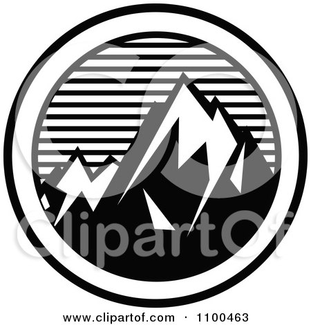Clipart Black And White Snow Capped Mountains With Horizontal Lines In A Circle - Royalty Free Vector Illustration by Andy Nortnik