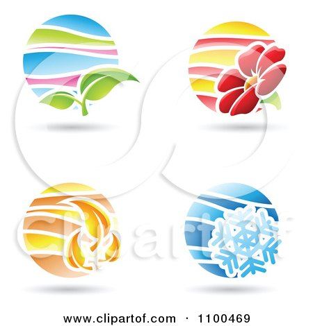 Clipart Circular Spring Summer Autumn And Winter Season Icons - Royalty Free Vector Illustration by cidepix