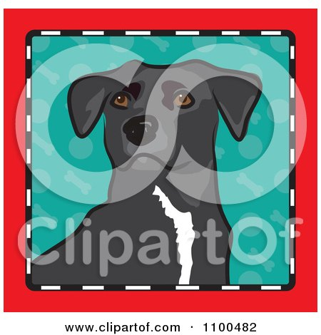 Clipart Folk Art Styled Mixed Breed Dog Looking Out Through A Red Black And White Frame With A Turquoise Background - Royalty Free Vector Illustration by Maria Bell