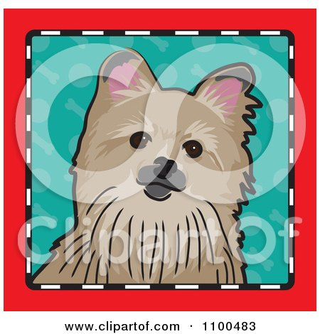 Clipart Folk Art Styled Pomeranian Dog Looking Out Through A Red Black And White Frame With A Turquoise Background - Royalty Free Vector Illustration by Maria Bell