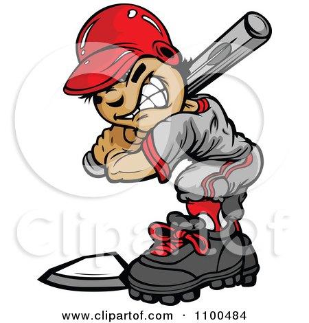 Clipart Tough Baseball Boy At Bat - Royalty Free Vector Illustration by Chromaco