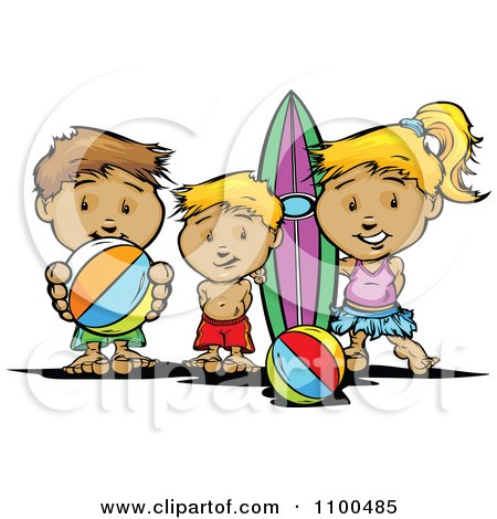 Surfer Girl And Boys With A Board And Beach Balls Posters, Art Prints
