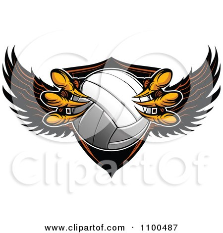Clipart Eagle Talons Grabbing A Volleyball And A Winged Shield - Royalty Free Vector Illustration by Chromaco