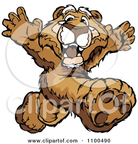 Clipart Athletic Cougar Mascot Running Track - Royalty Free Vector Illustration by Chromaco