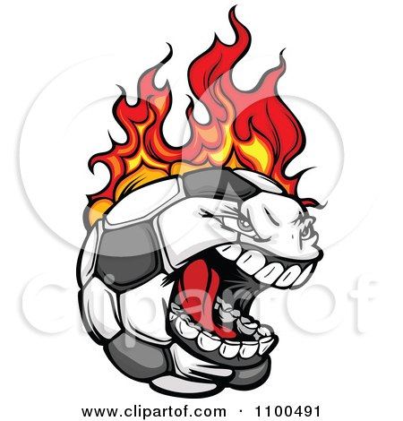 Clipart Screaming Aggressive Soccer Ball Mascot On Fire - Royalty Free Vector Illustration by Chromaco
