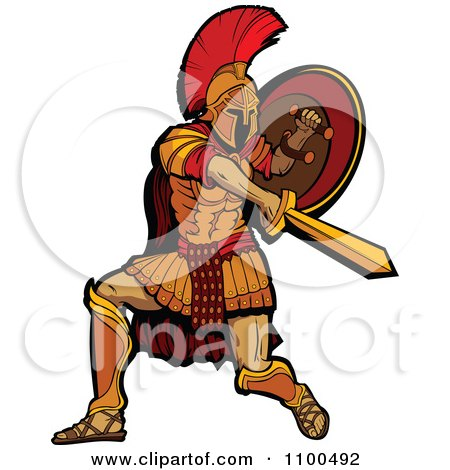 Clipart Spartan Warrior Mascot Stabbing And Holding His Shield To The Side - Royalty Free Vector Illustration by Chromaco