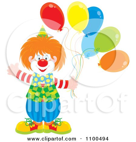 Clipart Happy Clown Waving And Holding Party Balloons - Royalty Free Vector Illustration by Alex Bannykh