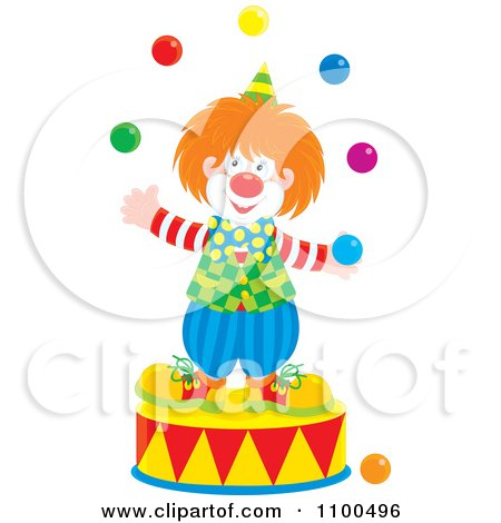 Clipart Happy Clown Juggling On A Podium - Royalty Free Vector Illustration by Alex Bannykh