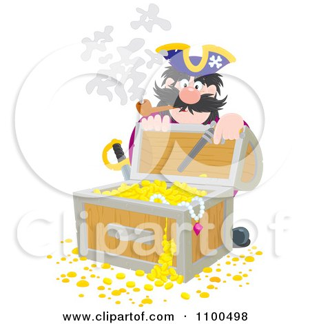 Clipart Pirate Kneeling Behind And Opening A Treasure Chest Full Of Booty And Gold - Royalty Free Vector Illustration by Alex Bannykh