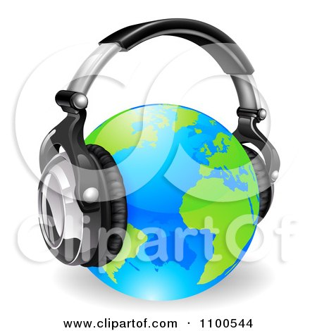 Clipart Blue And Green Globe Wearing 3d Noise Canceling Music Headphones - Royalty Free Vector Illustration by AtStockIllustration