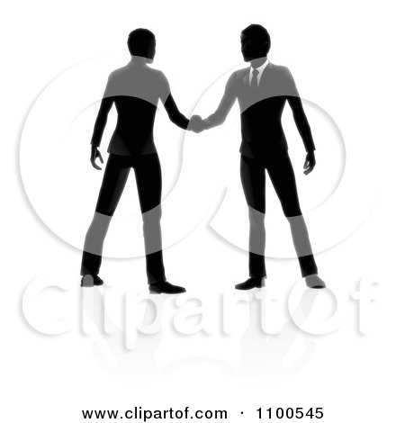 Silhouetted Business Men Engaged In A Hand Shake With Reflections Posters, Art Prints