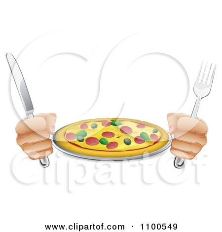 Clipart Hands Holding A Knife And Fork With A Supreme Pizza Pie - Royalty Free Vector Illustration by AtStockIllustration