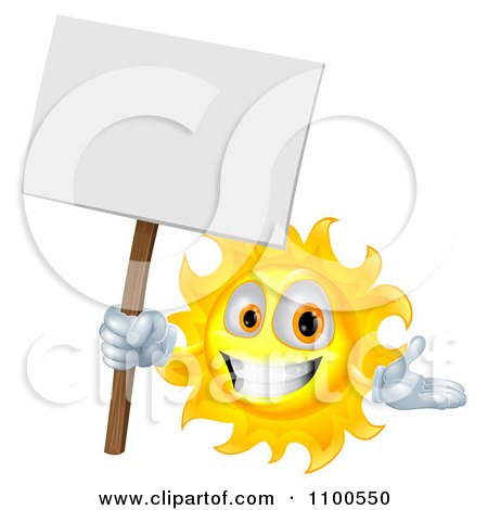 Clipart Happy Sun Holding A Sign - Royalty Free Vector Illustration by AtStockIllustration