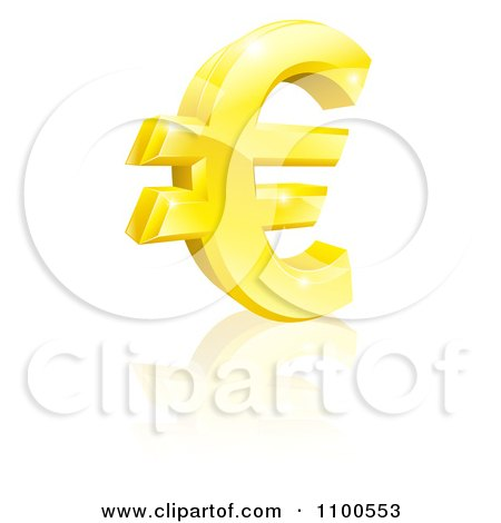 Clipart 3d Sparkling Gold Euro Currency Symbol - Royalty Free Vector Illustration by AtStockIllustration